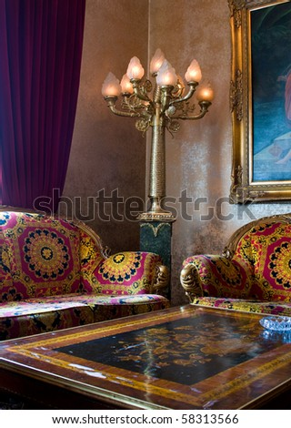 Noble Living Room with baroque Table and Seats - stock photo