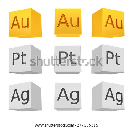 Noble metal cube set; gold; silver; platinum; front-bottom view,  rendered model  - stock photo