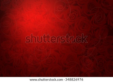 noble romantic background in red with roses - stock photo