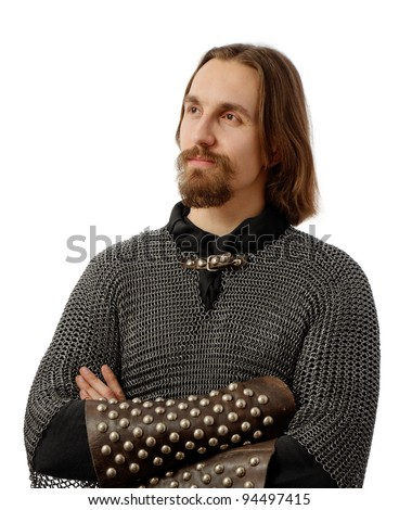 noble warrior in medieval mail armor, looking far, over white background