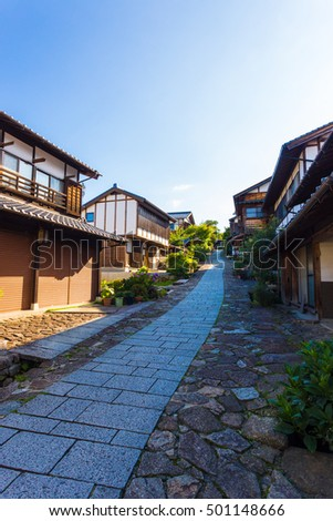 Nobody present early on a summer morning on a footpath on historic Nakasendo road in Magome