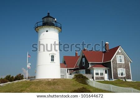 Nobska Lighthouse, Woods Hole, Cape Cod, New England, Massachusetts, USA, Nobska Leuchtturm, Neu England - stock photo