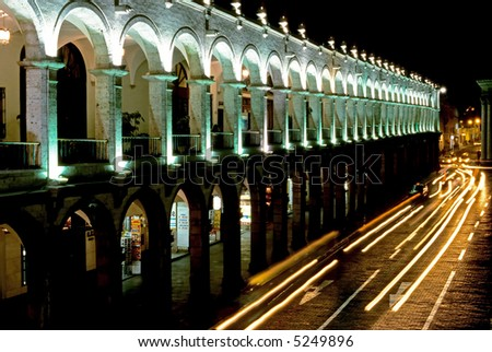 Nocturnal Plaza De Armas – Arequipa - stock photo