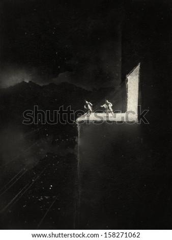 Noir sketch - stock photo