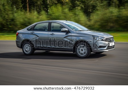 NOKIA, FINLAND - August 25, 2016: Lada Vesta at the test-drive event on the proving ground.  Lada Vesta is a small family car produced by the Russian car company AvtoVAZ since 2015.