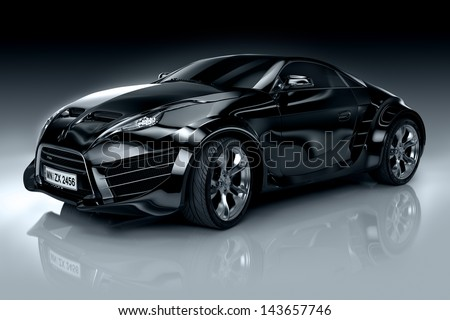 Non-branded generic sports car - stock photo