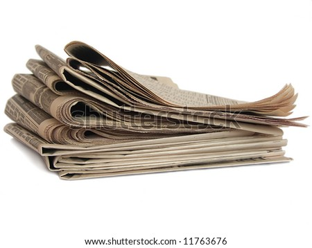 Non colored newspaper isolated on white (newspaper series) - stock photo