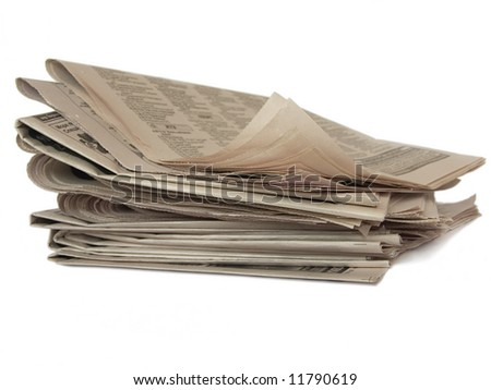 Non colored newspaper isolated on white (newspaper series)