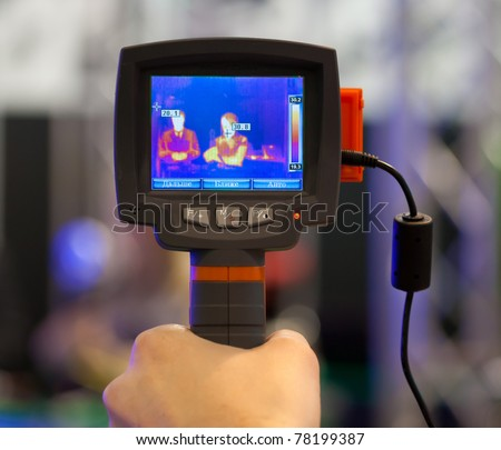 non-contact infrared thermometer in hand (thermal imaging camera)