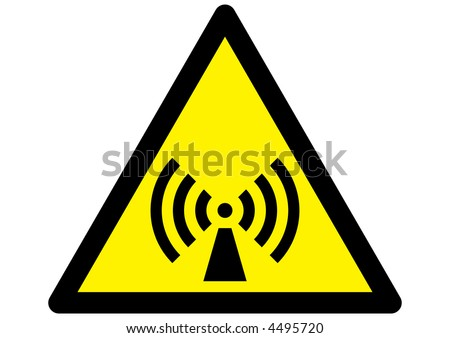 non ionizing radiation symbol on triangular yellow sign