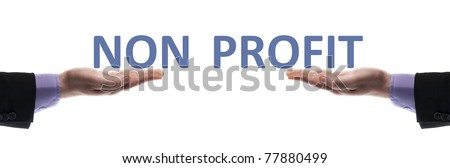 Non profit message in male hands - stock photo