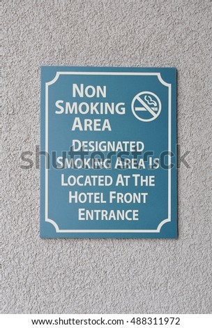 Non smoking area sign in a hotel