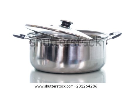 Non stick sauce pan isolate on over white background - stock photo