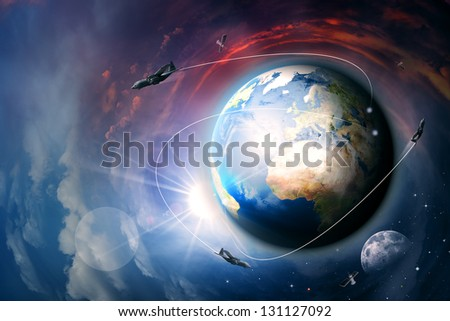 Non stop motion, abstract techno and environmental backgrounds - stock photo