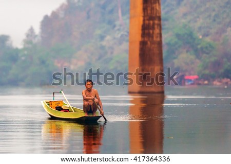 Nong Kiau, Laos - March 28th 2016 - A old fisherman around the Nong Kiau village in northern Laos, Southeast Asia
