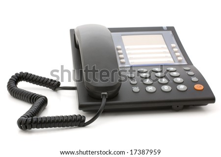 Nonmobile corded phone isolated on white background - stock photo