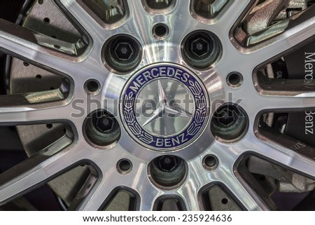 NONTABURI, THAILAND - 4 DEC : The Mercedes Benz's mag wheel showed in 31th Thailand International Motor Expo on 4 December 2014 - stock photo