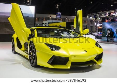NONTABURI, THAILAND - 23 MAR : Lamborghini Aventador LP 700-4 showed in Thailand the 37th Bangkok International Motor Show on 23 March 2016 - stock photo