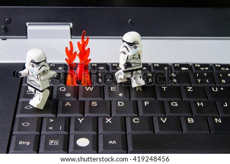 Nonthabure, Thailand - May,05,2016: Lego star wars stormtrooper on notebook keyboards.The lego Star Wars mini figures from movie series.Lego is an interlocking brick system collected around the world.