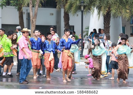 Nonthaburi - 11 April: Songkran Festival is celebrated in Thailand as the traditional New Year's Day from April 13 to 15, with a costume parade and water splash on April 11, 2014, Nonthaburi.