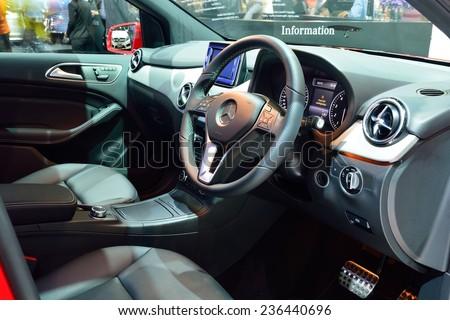 NONTHABURI - DECEMBER 1: Interior design of Mercedes BenZ B 200 car display at Thailand International Motor Expo on December 1, 2014 in Nonthaburi, Thailand. - stock photo
