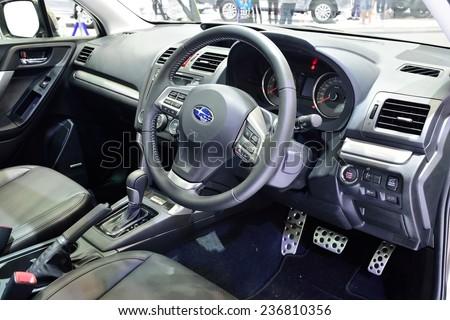 NONTHABURI - DECEMBER 1: Interior design of Subaru Frorester 2.0 XT car display at Thailand International Motor Expo on December 1, 2014 in Nonthaburi, Thailand. - stock photo