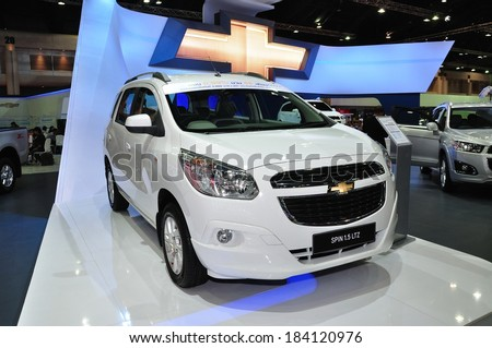 NONTHABURI - March 25: New Chevrolet Spin 1.5 Litre on display at The 35th Bangkok International Motor show on March 25, 2014 in Nonthaburi, Thailand.