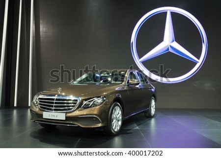 NONTHABURI - MARCH 23: NEW Mercedes Benz e 220 d on display at The 37th Bangkok International Motor show on MARCH 23, 2016 in Nonthaburi, Thailand. - stock photo