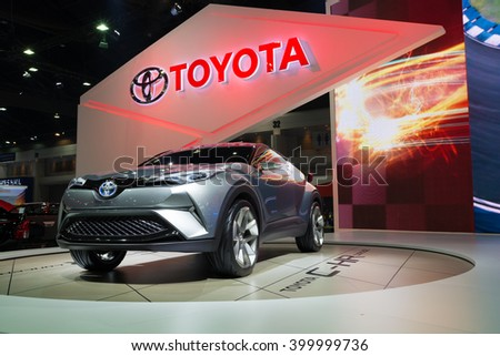 NONTHABURI - MARCH 23: NEW Toyota CH-R Concept on display at The 37th Bangkok International Motor show on MARCH 23, 2016 in Nonthaburi, Thailand. - stock photo