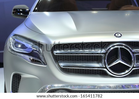 NONTHABURI - NOVEMBER 28: Closed-up of Mercedes-Benz Concept GLA car display on stage at The 30th Thailand International Motor Expo on November 28, 2013 in Nonthaburi, Thailand. - stock photo