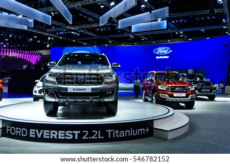 NONTHABURI - NOVEMBER 30 : Ford EVEREST 2.2L Titanium+ on display at Thailand International Motor Expo 2016 on December 8, 2016 in Nonthaburi, Thailand.