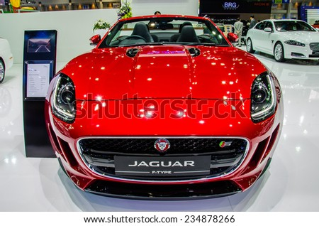 NONTHABURI - NOVEMBER 29: Jaguar F-Type car on display at Thailand International Motor Expo 2014 on November 29, 2014 in Nonthaburi, Thailand.