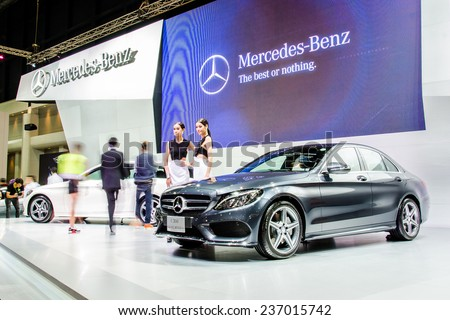 NONTHABURI - NOVEMBER 28:  mercedes-Benz C 300 car on display at Thailand International Motor Expo 2014 on November 28, 2014 in Nonthaburi, Thailand. - stock photo