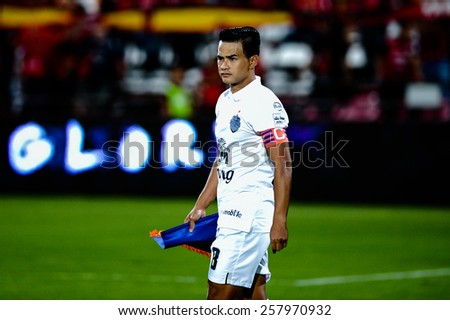 NONTHABURI THAI-FEB 21:Captain Suchao Nutnum of Buriram Utd. during the Thai Premier League 2015 between SCG Muangthong UTD. and Buriram UTD.at SCG Stadium on February 21,2015 in,Thailand - stock photo