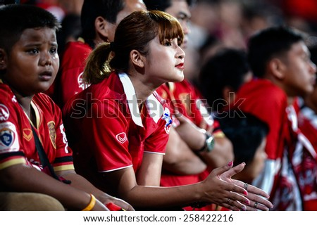 NONTHABURI THAI-FEB 21:Unidentified supporters during the Thai Premier League 2015 between SCG Muangthong UTD. and Buriram UTD.at SCG Stadium on February 21,2015 in,Thailand - stock photo