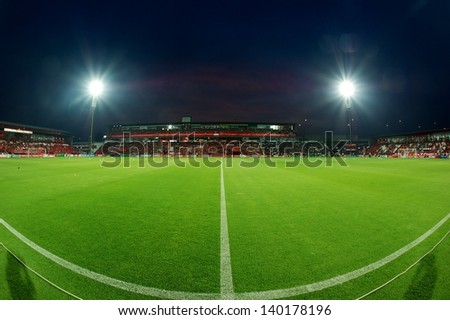 NONTHABURI THAILAND-APRIL17:Panoramic views of SCG Stadium  during Thai Premier League between  MuangThong United.and Buriram United at SCG Stadium on April 17, 2013,Thailand