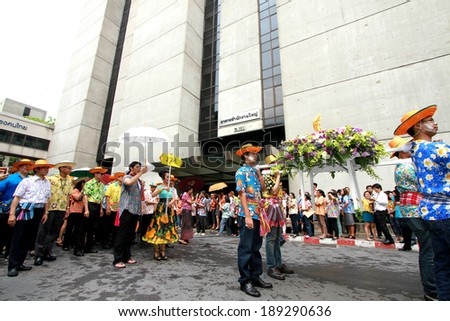 NONTHABURI-THAILAND-APRIL 11 : Songkran Festival is celebrated in Thailand as the traditional New Year's Day from April 11 to 15, with a costume parade and water splash on April 11, 2014, Thailand