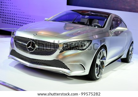 NONTHABURI, THAILAND - APRIL 07: The Mercedes-Benz Concept A-class on display in the 33rd Bangkok International Motor Show on April 07, 2012 in Nonthaburi, Thailand. - stock photo