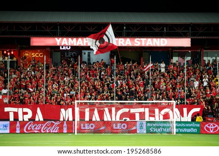 NONTHABURI THAILAND-APRIL 06:Unidentified fan of Muangthong utd.supporters  during Thai Premier League Muangthong utd. and Bangkok Glass F.C. at SCG Stadium on April 06,2014 in Thailand  - stock photo