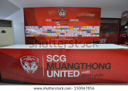NONTHABURI,THAILAND-AUGUST 14, 2013:Press conference room at Muangthong United football club certified standard of Asian Football Confederation at SCG stadium on August 14, 2013 in Nonthaburi,Thailand