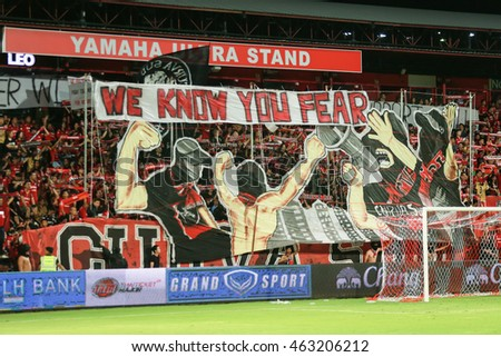 NONTHABURI,THAILAND-August 3 :The fanclub of SCG Muangthong United in action during the game between SCG Muangthong United and Buriram United at SCG Stadium on August 3, 2016 in,Thailand.