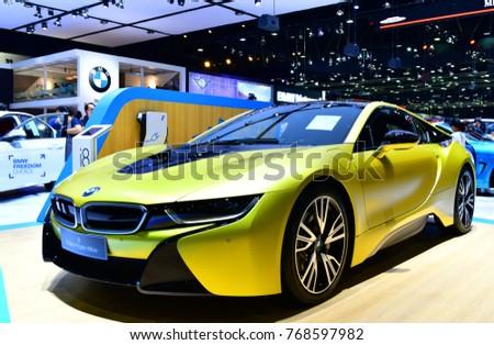 NONTHABURI THAILAND DEC 01 2017 BMW I8 Luxury Sports Cars On Display