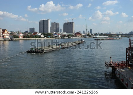 NONTHABURI -THAILAND - DECEMBER 7 : Boat transportation in Chaophraya river of Thailand on December 7, 2014 in Nonthaburi province, Thailand