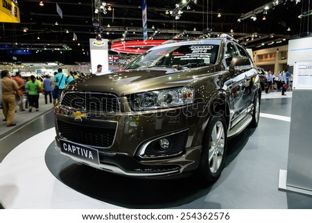 NONTHABURI, THAILAND - DECEMBER 8: The Chevrolet Captiva is on display at the 31st Thailand International Motor Expo 2014 on December 8, 2014 in Nonthaburi, Thailand.