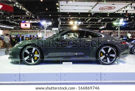 NONTHABURI, THAILAND - DECEMBER 6: The Porsche 911 50th Aniversary Edition is on display at the 30th Thailand International Motor Expo 2013 on December 6, 2013 in Nonthaburi, Thailand.