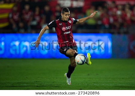 NONTHABURI THAILAND-FEBRUARY 21:	Cleiton Silva  of Muangthong utd. ifor the ball during Thai Premier League between Muangthong Utd.and Buriram United at SCG Stadium on Feb 21, 2015,Thailand - stock photo
