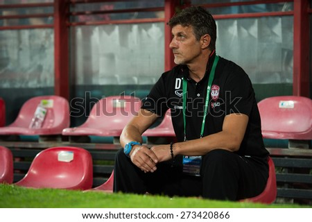 NONTHABURI THAILAND-FEBRUARY 21:	Manager	Dragan Talajic of Muangthong utd. in action during Thai Premier League between Muangthong Utd.and Buriram United at SCG Stadium on Feb 21, 2015,Thailand - stock photo