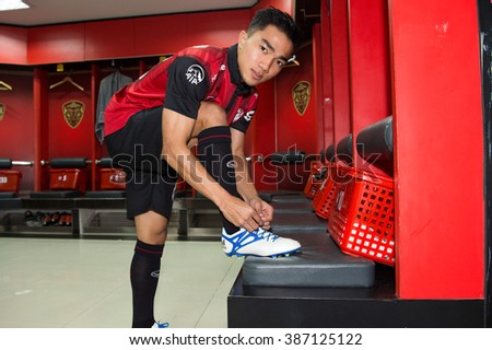 NONTHABURI-THAILAND JAN 28:Chanathip Songkrasin pose in dressing rooms during press conference as a new players for Muangthong United at SCG Stadium on January 28,2016 in Thailand - stock photo