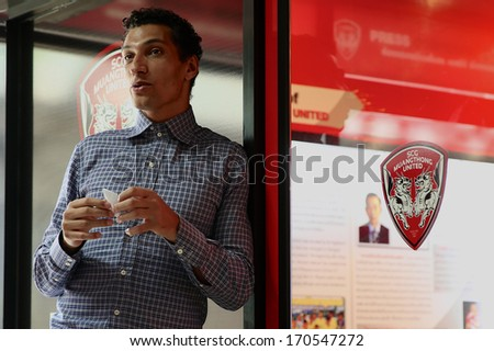 NONTHABURI-THAILAND JANUARY 8:Jay Bothroyd footballer from England in action during  before press conference as a  new SCG Muangthong United player at SCG Stadium on January 8, 2014 in ,Thailand - stock photo