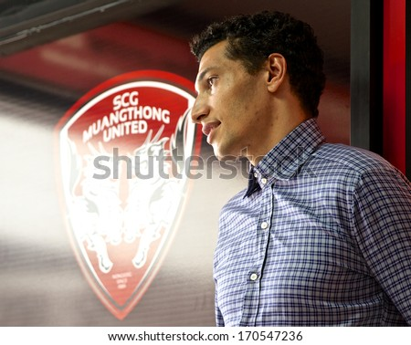NONTHABURI-THAILAND JANUARY 8:Jay Bothroyd footballer from England in action during  press conference as a new player for SCG Muangthong United at SCG Stadium on January 8, 2014 in Nonthaburi,Thailand - stock photo